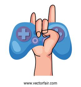 hand holding blue videogame control