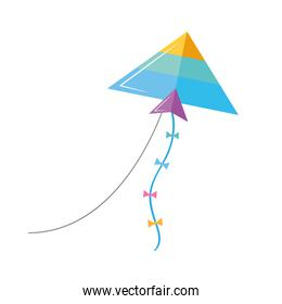 Blue and triangle kite flying