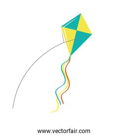 Blue and yellow kite flying