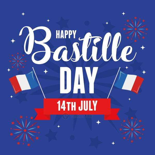 Happy bastille day flags