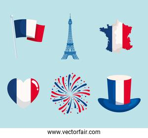 Happy bastille day icon collection