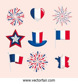 Happy bastille day symbol collection