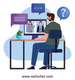 Man in video call with computer