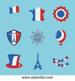 Happy bastille day icon group