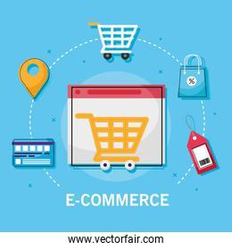 shopping cart on website with icon set