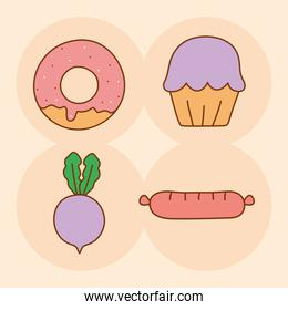 four doodle food icons