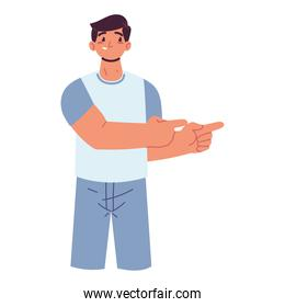 man pointing with hands