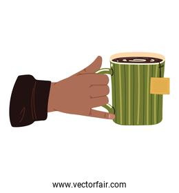 male hand with tea cup