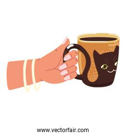 woman holds coffee cup