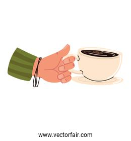 Hand holding cup on dish