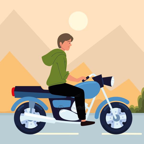 young man with motorcycle