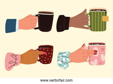 set of hands with cups