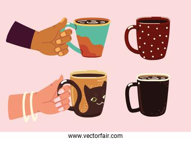hands and coffee cups