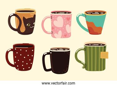 cups with hot beverages