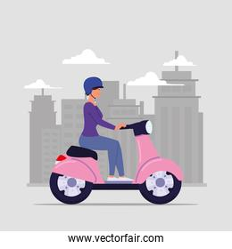 woman on motorcycle with helmet