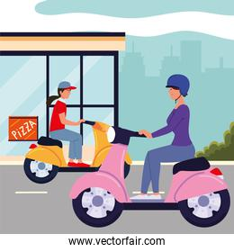 woman and man on motorcycles