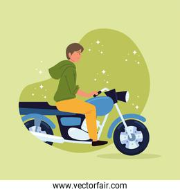 young riding motorcycle