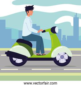 young man on motorcycle