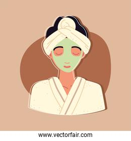 woman with skin care mask