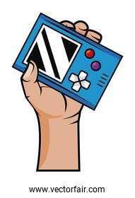 hand with old videogame device