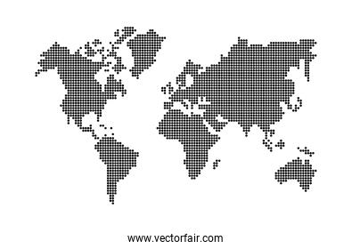 world earth dotted silhouette