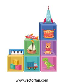 toys in cubes wooden