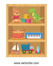 toys in wooden shelving