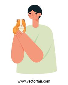 man and hamster