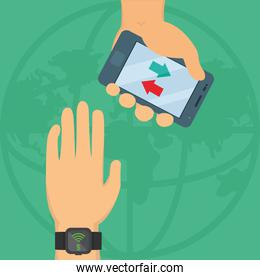 hands with smart devices