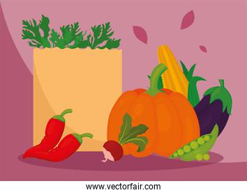 vegetables with paper bag