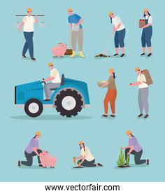 Farmer people icon group