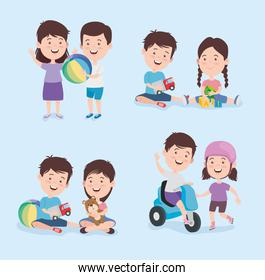 Kids cartoons with toys icon group