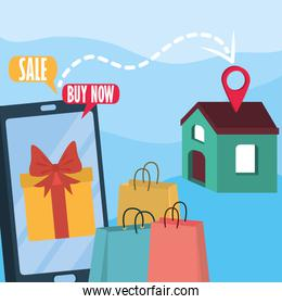 shopping online from home