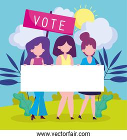girls with banner vote