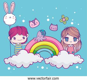 funny boy and girl cute