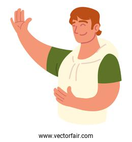 man with hand up greeting
