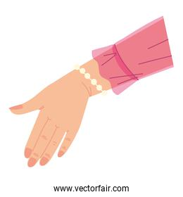 open hand with pink cloth