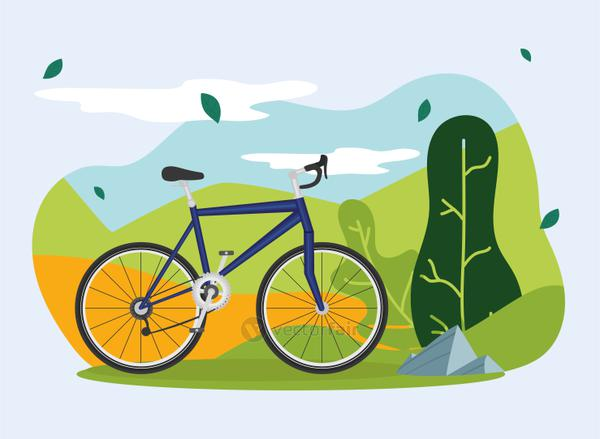 blue bike vehicle in front of green trees