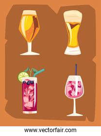 Cocktail drinks icon set