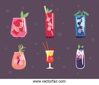 Cocktail drinks icon collection