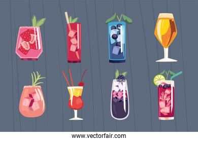 Cocktail drinks symbol collection