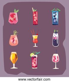 Cocktail drinks icon group