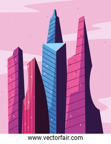 buildings in front of pink sky