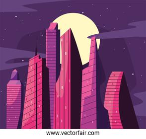 pink buildings at night