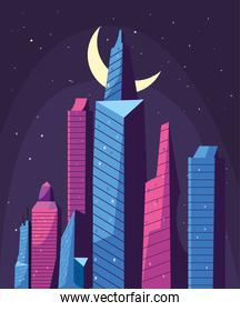 buildings in front of moon