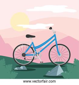 blue bike in front pink mountains