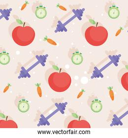 weights and apples background