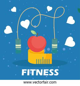 Fitness apple on meter and rope