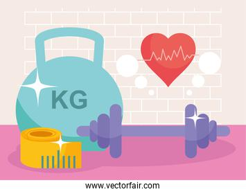weights meter and cardio heart
