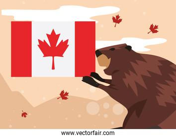 Canada day beaver with flag